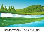 river crossing the field in...   Shutterstock .eps vector #675784186