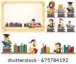 paper frame and many animals... | Shutterstock .eps vector #675784192