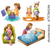 mother and child doing... | Shutterstock .eps vector #675784246
