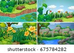 four scenes with flowers in... | Shutterstock .eps vector #675784282