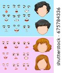 man and woman with many facial... | Shutterstock .eps vector #675784336