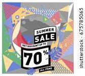 summer sale geometric style web ... | Shutterstock .eps vector #675785065