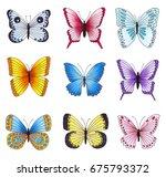 set of multicolored butterflies ... | Shutterstock . vector #675793372