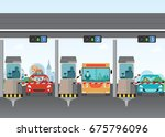 driver cars passing through to... | Shutterstock .eps vector #675796096