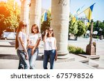 three gorgeous girls standing... | Shutterstock . vector #675798526