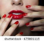 beautiful women with red nail   ... | Shutterstock . vector #675801115