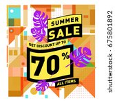 summer sale geometric style web ... | Shutterstock .eps vector #675801892