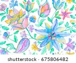 watercolor hand painted paisley ... | Shutterstock . vector #675806482