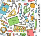 school stationery. seamless... | Shutterstock .eps vector #675807076