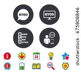 byod icons. human with notebook ... | Shutterstock .eps vector #675808846