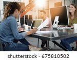 trendy young people working in... | Shutterstock . vector #675810502