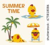 summer time. set of happy... | Shutterstock .eps vector #675818086