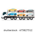 The trailer transports cars with new auto, truck trailer transport vehicles isolated on white background, vector illustration. - stock vector