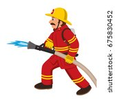 firefighter puts out fire with...   Shutterstock .eps vector #675830452