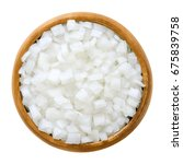 white onion cubes in wooden... | Shutterstock . vector #675839758