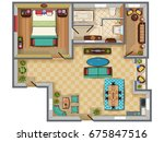 top view of floor plan interior ... | Shutterstock .eps vector #675847516