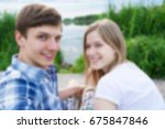 blurred couple making selfie at ... | Shutterstock . vector #675847846