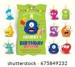 birthday anniversary numbers... | Shutterstock .eps vector #675849232