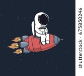 cute astronaut sits on rocket... | Shutterstock .eps vector #675850246
