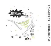 tee print with dinosaur for boys | Shutterstock .eps vector #675854476