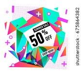 summer sale geometric style web ... | Shutterstock .eps vector #675864382