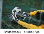 african american goalkeeper... | Shutterstock . vector #675867736