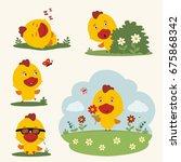 summer time. set happy chicken... | Shutterstock .eps vector #675868342