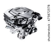 Modern Car Engine Isolated On...