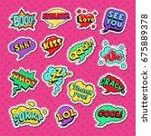 pop art comic speech bubbles... | Shutterstock .eps vector #675889378