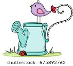 cute bird with watering can | Shutterstock .eps vector #675892762
