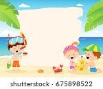summer template with cute... | Shutterstock .eps vector #675898522