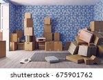 the heap of the cardboard boxes ...   Shutterstock . vector #675901762