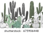 seamless pattern with cactus.... | Shutterstock .eps vector #675906448