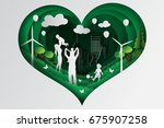 paper art of happy family... | Shutterstock .eps vector #675907258