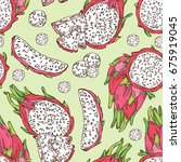 seamless pattern with pitaya...   Shutterstock .eps vector #675919045