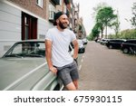hipster  model with beard ... | Shutterstock . vector #675930115