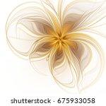 Abstract Fractal Golden Flower...