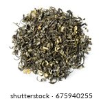 Green Tea With Jasmine On Whit...
