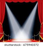 vector opened red curtain stage ... | Shutterstock .eps vector #675940372