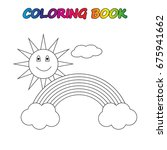 rainbow   coloring book. game... | Shutterstock .eps vector #675941662