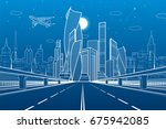 wide highway. urban... | Shutterstock .eps vector #675942085