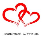 couple of red vector hearts... | Shutterstock .eps vector #675945286