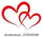 double of red vector hearts... | Shutterstock .eps vector #675945298