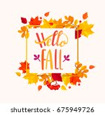 hello fall lettering in autumn... | Shutterstock .eps vector #675949726