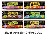 set of colorful labels  sketch... | Shutterstock .eps vector #675953002