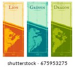 vector set vintage posters with ... | Shutterstock .eps vector #675953275