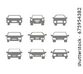 monochrome icons set with cars  ... | Shutterstock .eps vector #675954382