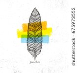 ethno tribal feather creative...   Shutterstock .eps vector #675973552