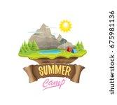 vector summer campinng concept... | Shutterstock .eps vector #675981136