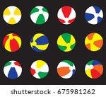 beach balls set vector icon...   Shutterstock .eps vector #675981262